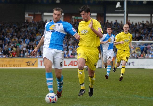 Rickie Lambert in action against Bury. Photo Credit Neil Brookman