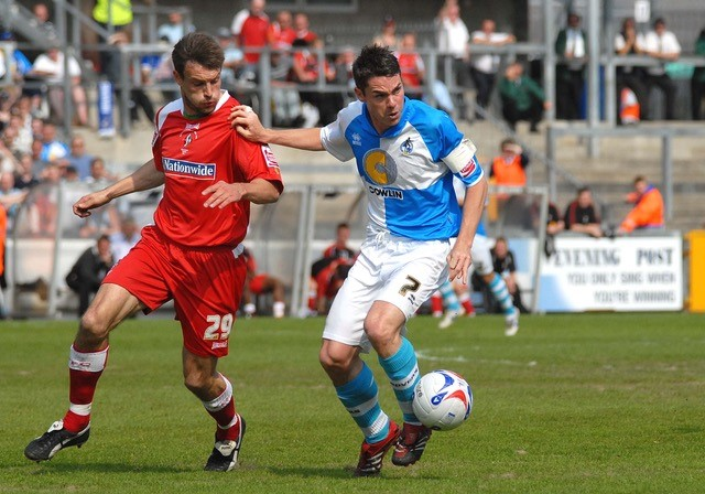 Skipper Stuart Campbell pictured in action against Swindon Town. Photo Credit Neil Brookman
