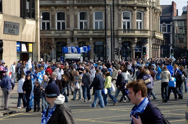 The streets of Cardiff were turning blue & white. Photo Credit Neil Brookman